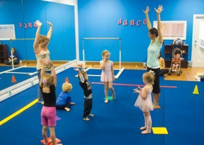 Mary Beth teaches her first gymnastic class at a dance studio in 2013